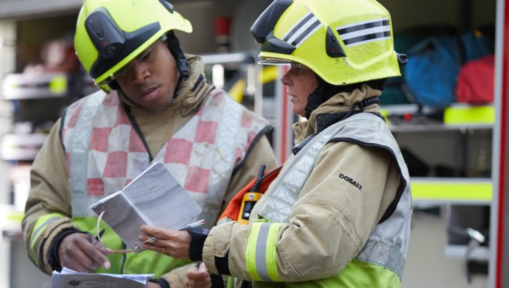 Luton Fire Station – BedfordshireFRS – Action shots firefighters talking
