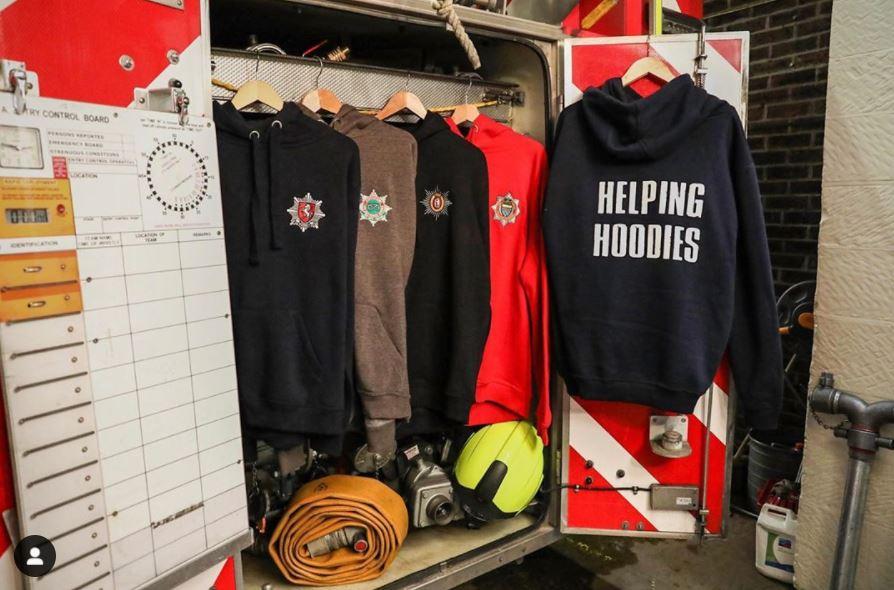 Helping Hoodies displayed on fire engine 2020