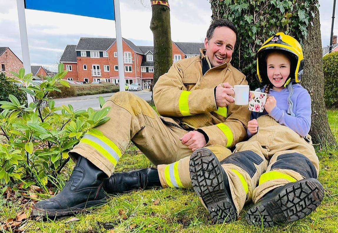 Brew With A Crew - Dad and Daughter in firefighting uniform